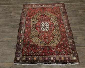 Unusual Semi Antique Medium Size Red Hamedan Persian Oriental Rug Carpet 4'4X6'7