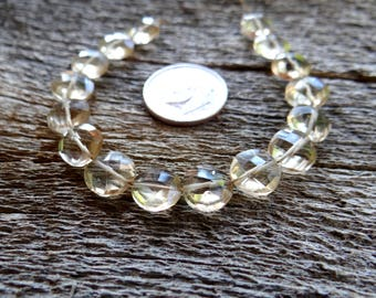 Champagne Citrine   Faceted Side Drilled Coin Beads   9x9mm   Sets of 2, Sets of 4