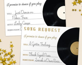 "Printable Vintage Vinyl Record Song Request Card, Wedding Event Song Request, White and Gold, Set of 4, 5""x3.5"" cards, Instant Download JPG"