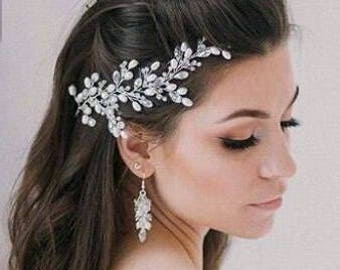 Wedding Hairpiece, Bridesmaid Headwear, Crystal Bridal Hair Piece,Bridal Hair Halo,Bridal Adornment,Bridesmaid Accessories,Forehead Headband
