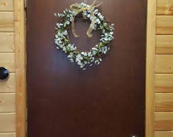 Floral Door Wreath - Indoor/ Outdoor Wreath - Blue and Green Floral Wreath
