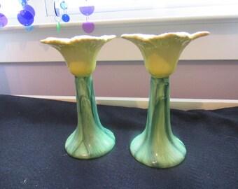 Pair of Vintage 1993 Seymour Mann Hand Painted Taper Candle Holders Jolis Fleurs Yellow Tulip    2749