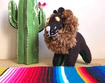 Mexican doll, wool doll, handmade doll, mexican folk art, mexican folk toy, lion doll, stuffed animal, nursery decor, kids room decor