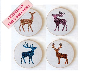 Cross stitch pattern deer, ornament cross stitch pattern, Set from 4 cross stitch patterns for 5 dollars