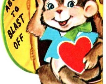 Vintage Monkey In Rocket Die-Cut Children's Classroom Valentine's Day Card UNUSED