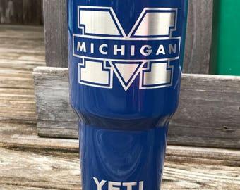 Michigan Universtiy Etch - NEW Authentic YETI Rambler or Ozark Trails Custom Powder Coat Dipped