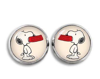 Snoopy with Bowl Stud Earrings Snoopy Earrings 12 mm Stud Earrings Geeky Fangirl Fanboy