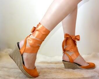 Vintage SONIA RYKIEL Espadrilles Wedges | Platform Sandals, Ribbon Wedges | Dark Orange | eu 39, uk 6, us 8