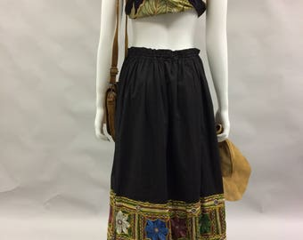 Bohemian Black Embroidered Adjustable Waist Skirt | Vintage 80s 90s | Embroidered Border | Festival | Simonia | Gypsy| Pirate Queen | Hippie