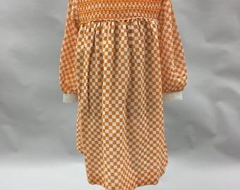 70s Orange and White Girls Gingham Smocked Midi Length Long Sleeve Dress With White Collar 1970s