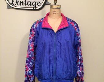 Vintage Puma Purple and Pink Floral Windbreaker | Zip Front | Elastic Waist and Cuffs |