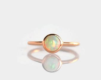 opal ring, rose gold opal ring, gift for wife, stack ring, rose gold ring, opal promise ring, girlfriend gift, romantic gift, dainty ring