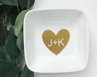 Initials | Ring Dish | Initials Ring Dish | Ring | Wedding | Wedding Gift | Custom | Engaged | Engagement Gift | Bridal Shower | Ring Holder