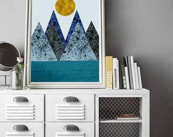 Scandinavian wall, modern simple, Mountain Wall Art, Mountain Print, Scandinavian Art,  Geometric  Prints, Abstract Art,  Minimalist Art