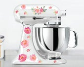 Watercolor peony Kitchen Mixer Decals, Watercolor flowers, flower mixer decals