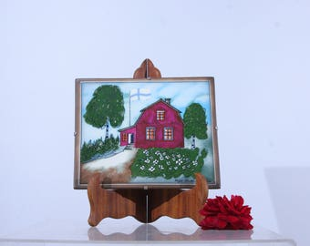 Arabia Finland Helja Liukko-Sundstrom wall plaque, Spring finnish cottage with flag, Arabia ceramic tile wall art
