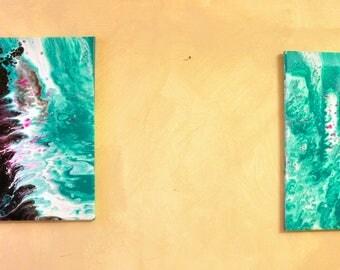 Fluid art, fluid art painting, fluid acrylic painting, fluid painting canvas, set of 2 wall art, abstract painting on canvas original