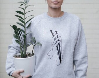 Sweatshirt for knitters,knitting sweatshirt,yarn gifts knitting,knitting gift ideas,raglan for knitters,gray,hands sketch, gift for knitter