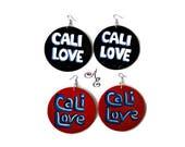 California Love Earrings, Hand Painted Wooden Earrings, California Hip Hop 90s Style Graffiti Art Statement Fashion Jewelry Earrings