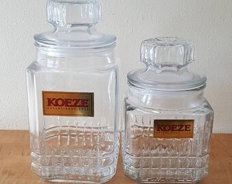 Apothecary Jars~Set of 2 Matching Koeze's Candy Jar Style with Intact Koeze Labels~Clear Glass Apothecary Jar~Clear Glass Canister Jar