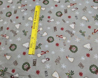 Christmas Whimsy-Snowmen on Gray Cotton Fabric from Red Rooster Fabrics