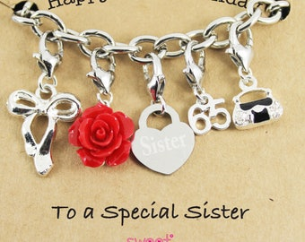 Happy 65th Birthday Rose Lucky Charm Bracelet Gift for Bestie, Sister, Niece, Mam, Special Friend.