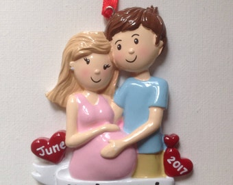 Personalized Christmas Ornament Pregnant Couple ,Expecting Parents Mom to be, Dad to be, Pregnancy announcement