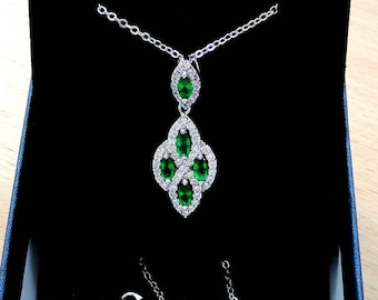 Emerald green stones necklace green jewelry gift for mother of the groom dainty necklace, zirconia necklace emerald pendant emerald necklace