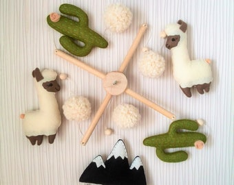 Llama and Cactus Nursery Mobile, Baby Mobile Felt Cactus Mobile Alpaca, Nursery decor,Mobile Boho,Nursery Decor Felt Mobile,Baby Crib Mobile