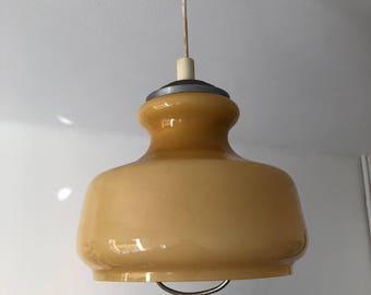 Coffee cream opaline pendant 48cm vintage 1960's