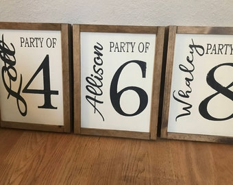 """Family """"party of"""" sign. Gallery Wall Decor. Wood sign"""