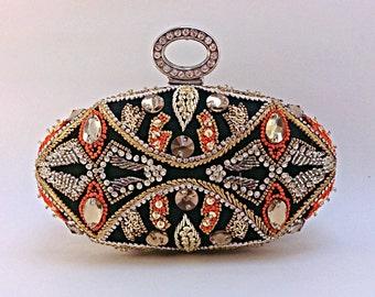 Fine art work of rhinestone thread embroidery,unique clutch,beaded clutch,party clutch,evening bag,prom clutch,embellished clutch,Crystalbag