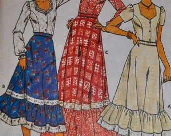 Vintage 1970s Butterick 6085 Sewing Pattern Two Piece Dress Blouse Skirt Ruffled Size 16, Bust 38 Sweetheart Neckline UNCUT
