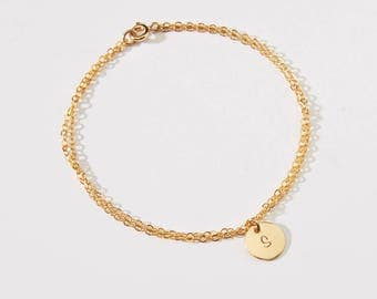 Personalized Small Round Disc Bracelet-3/8 inch-Initial, Dog Paw, Heart, Symbols-Gold Filled, Rose GF & Sterling Silver-CG308B