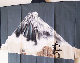 Vintage Japanese Men's Kimono / Fuji was drawn / Silk Gown / Juban