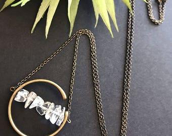 Clear Quartz Pendant Necklace // Natural Stone Necklace // Raw Stone Necklace // Modern Necklace // Long Boho Necklace // Unique Necklace