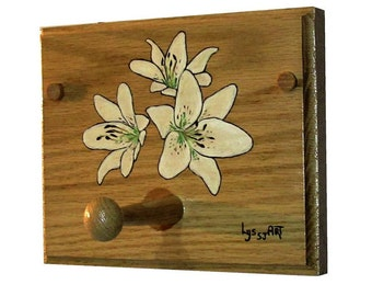 Floral Wall Coat Rack Wood - White Accessories Home Decor - Unique Painting Lily Eyeliner Flower Wall Coat Rack - Artworks Gift Ideas