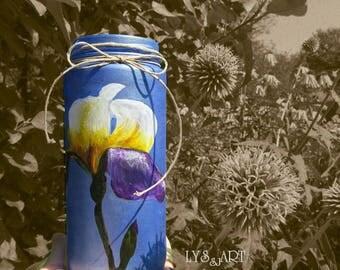 Iris Flower Glass Vase Blue Metallic