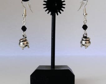 Halloween witchpot earrings silver with/without stone