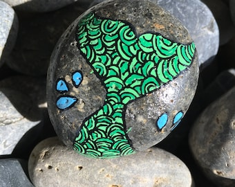 Mermaid Tail Rock Painting