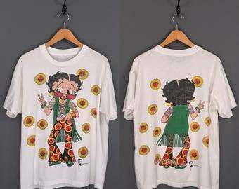 90s Betty Boop Hippie Bellbottoms Flower Child Sunflower Print T-Shirt. Vintage 1994 Betty Boop Flower Power Hippie Double Sided Print Tee.