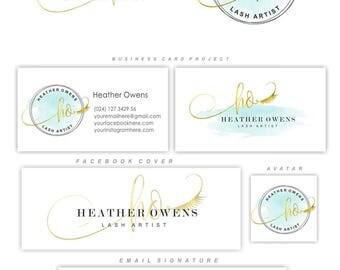 Lashes logo design, Eyelash premade logo package, Gold lash extensions logo, Branding Kit, Lash artist kit, Marketing Custom package, 151
