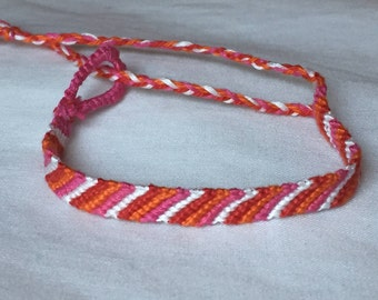 Pink, Red, Orange, and White Candy Stripe Friendship Bracelet