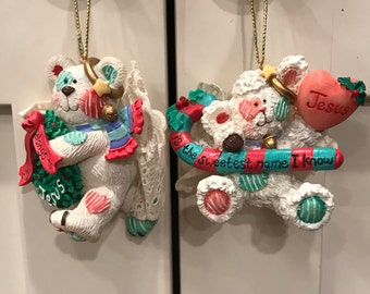 Enesco Wing and a Prayer Christmas Ornaments 1995