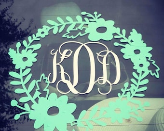 Wreath Monogram Car Decal