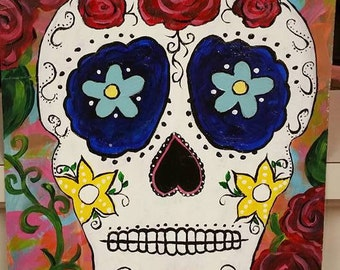Sugar Skull, Day of the Dead, Mexican, floral, roses, skeleton, gothic, hobo