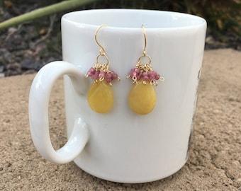 Yellow opal and tourmaline earrings
