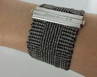"""Vintage Carolina Bucci Sterling Silver & Black Silk Woven Bracelet, 7"""""""