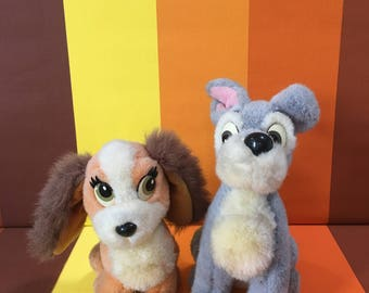 Vintage Lady And The Tramp Walt Disney Dogs Made in Korea Stuffed Animals Cuddle Soft Toys