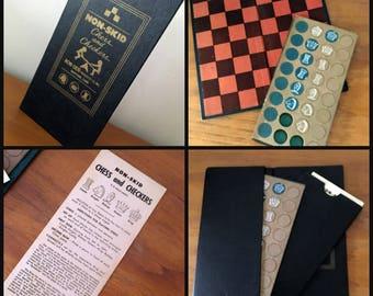 vintage travel chess set // scrapbooking mixed media